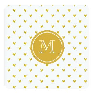 Corações do brilho do ouro com monograma convite