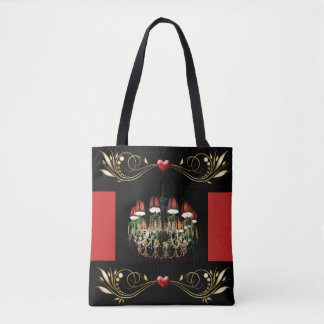 Corações do candelabro e sacola vermelhos Jeweled Bolsas Tote