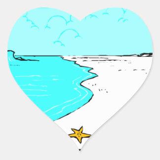 Corações do casamento de Sandy Beach Adesivo Coração