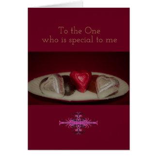 Corações do chocolate cartão