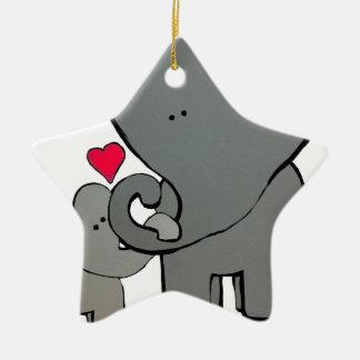 Corações do elefante ornamento de cerâmica
