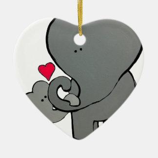 Corações do elefante - um amor de Unforgetable Ornamento De Cerâmica
