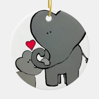 Corações do elefante - um amor inesquecível ornamento de cerâmica