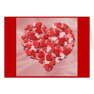 Corações do feliz dia dos namorados cartão comemorativo