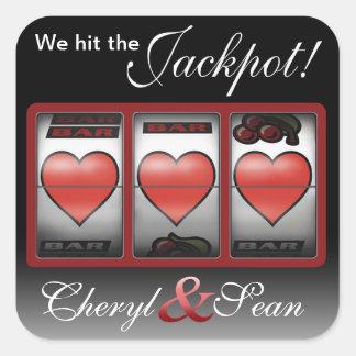 Corações do jackpot nós estamos fazendo-o na adesivo quadrado
