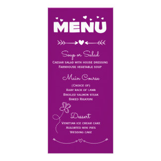 Corações do menu & casamento roxos & brancos da