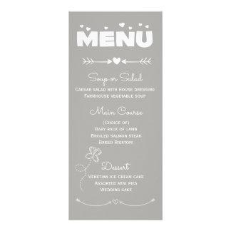 Corações do menu & festa de casamento cinzentos &