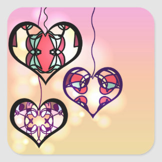 Corações do ornamento adesivo quadrado