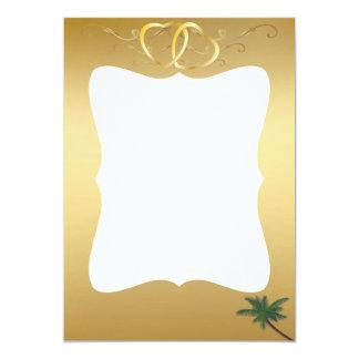 Corações do ouro & cartão com fotos da palmeira convite personalizado