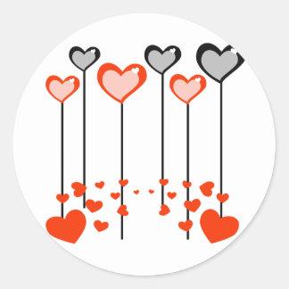 Corações do pop do Lolly Adesivo Redondo