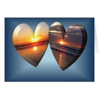 Corações do por do sol cartão