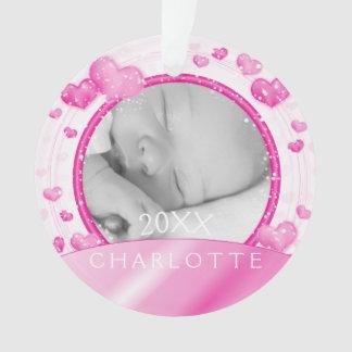 Corações do rosa do bebé do ornamento   da foto