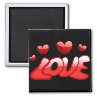 Corações do vermelho do amor ímã quadrado