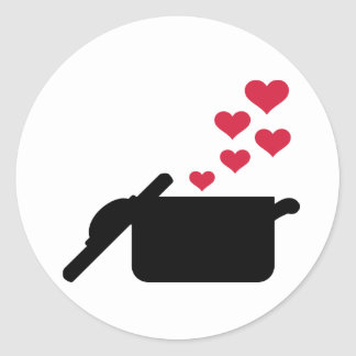Corações do vermelho do pote do cozinhar adesivos redondos