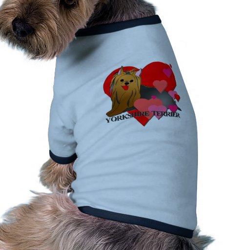 Corações do yorkshire terrier camisas para caes