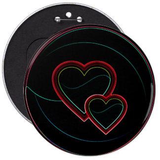 Corações dobro no preto botons