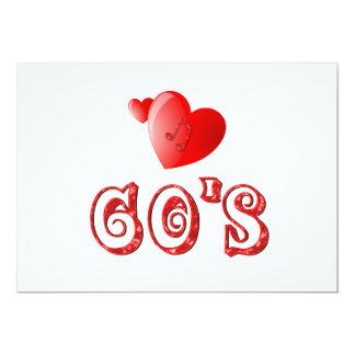 corações dos anos 60 convite 12.7 x 17.78cm