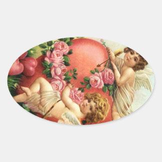 Corações dos Cupido dos namorados do Victorian do Adesivo Oval