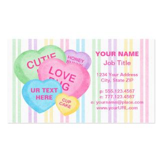 Corações dos doces do divertimento cartão de visita