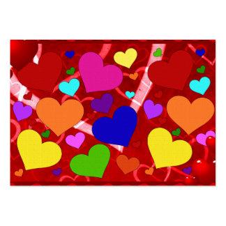 Corações dos namorados do arco-íris cartão de visita grande