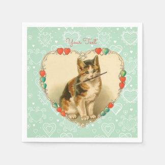 Corações dos namorados do gatinho da chita guardanapo de papel