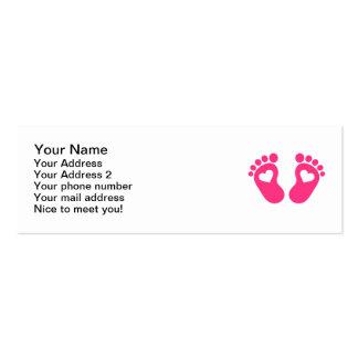 Corações dos pés do bebê modelos cartoes de visitas