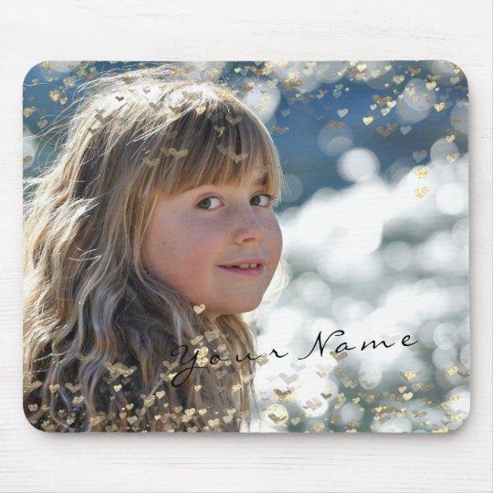 Corações dourados dos confetes da foto nova da mouse pad