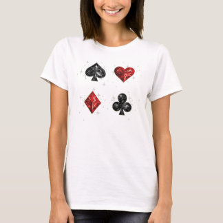 Corações e camisa do cartão do jogo das pás