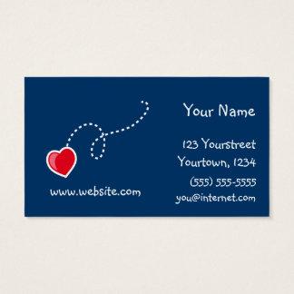 Corações e cartão de visita das flores