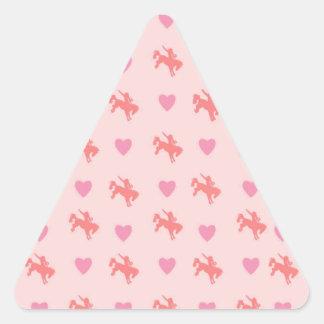 corações e cavalos adesivo triangular