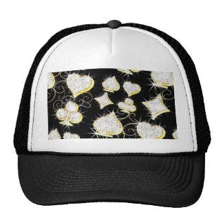 Corações e chapéu do camionista dos diamantes bones