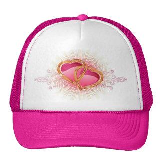 Corações e chapéu do camionista dos diamantes boné