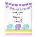 Corações e convite do chá de fraldas dos elefantes