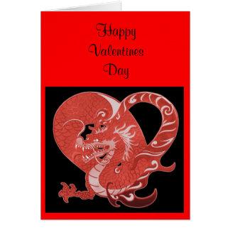 Corações e dragão do cartão dos namorados