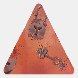 Corações e fechamentos, pintura da aguarela adesivo triangular