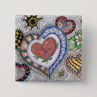 Corações e flores (pino de 2 polegadas) bóton quadrado 5.08cm