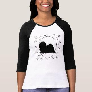 Corações e Pawprints de Lhasa Apso Camiseta