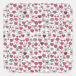 Corações e selo Assorted bonitos da etiqueta dos