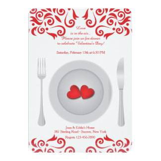 Corações em um convite do dia dos namorados da
