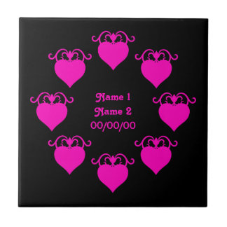 Corações femininos do amor do rosa quente no casam azulejos de cerâmica