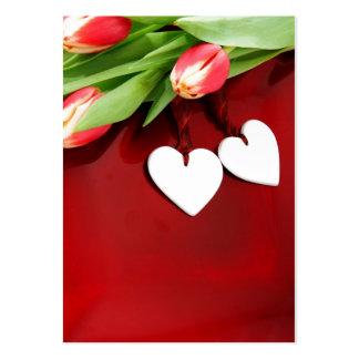 Corações florais românticos romances de florescênc modelos cartoes de visita