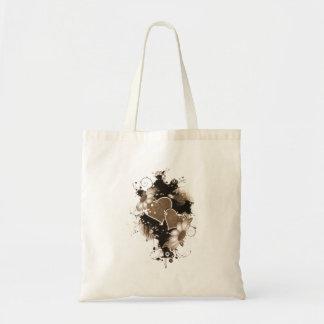 Corações & flores dobro - Sepia Brown Bolsa Para Compra