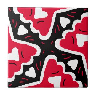 Corações Frilly e querido Vermelho-Branco-Preto do Azulejos