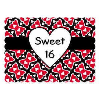 Corações Frilly e querido Vermelho-Branco-Preto do Convite 12.7 X 17.78cm