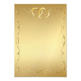 Corações Invitation2 do ouro Convite 12.7 X 17.78cm