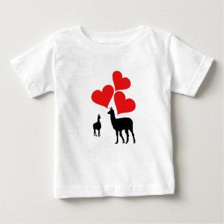 Corações & lamas camiseta para bebê