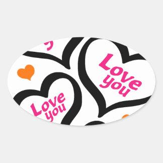 corações legal do amor adesivo oval