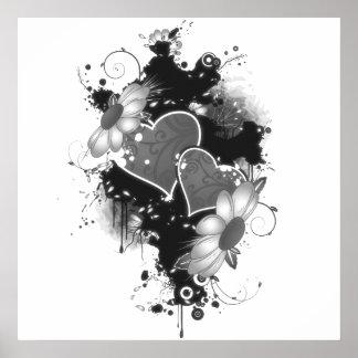 Corações & margaridas dobro - B&W cinzento Poster