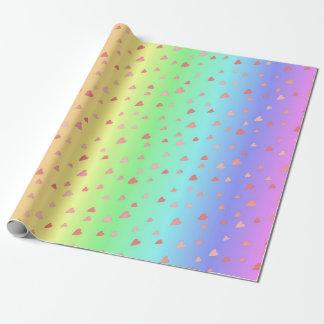 Corações minúsculos no papel Pastel do envoltório Papel De Presente