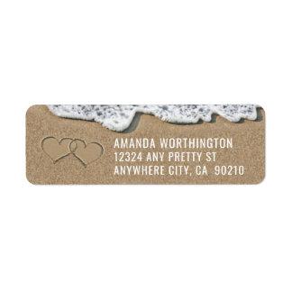Corações nas etiquetas de endereço do casamento de etiqueta endereço de retorno